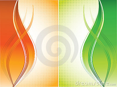 Orange and green curves background