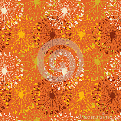 Orange grunge radial pattern. Decorative floral se