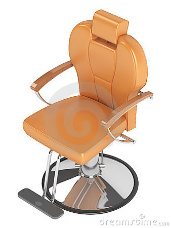 Orange hairdressing salon chair