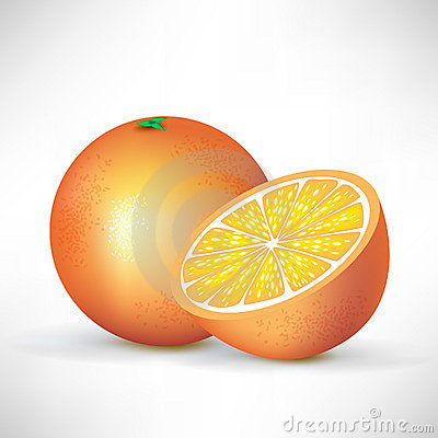 Orange and half of orange
