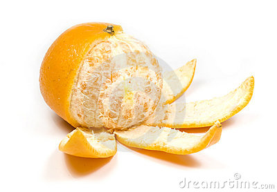 Orange, half without peel