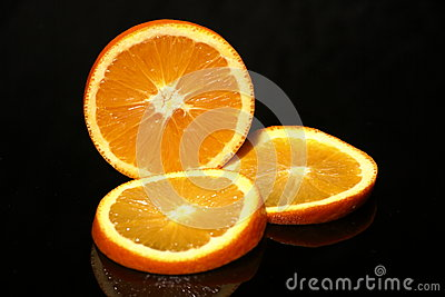 Orange half and slices