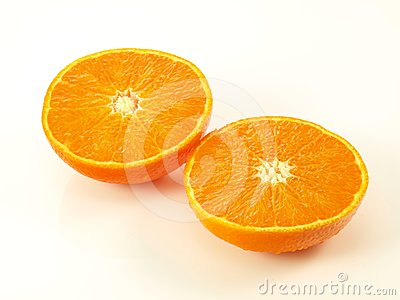 Orange halves, isolated