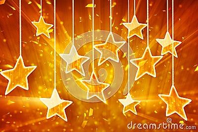 Orange hanging stars and bokeh lights