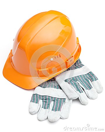 Orange hard hat on the gloves