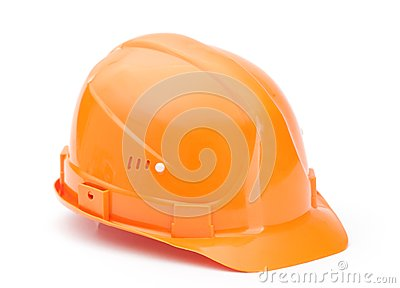 Orange hard hat, isolated on white