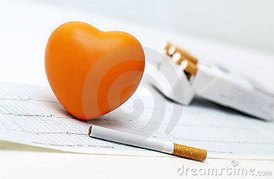 Orange heart, cigarettes and the cardiogram.