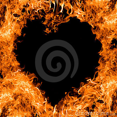 Orange heart shape flame