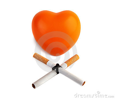 Orange heart  and two cigarettes.