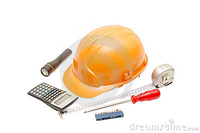 Orange helmet and the tool
