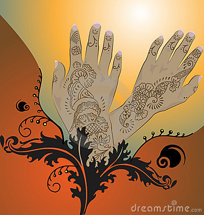 Orange Henna Illustration