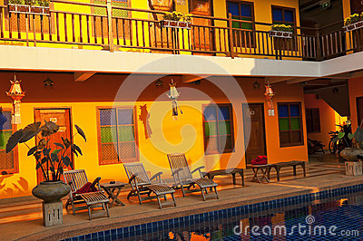 Orange hotel with the outdoor pool