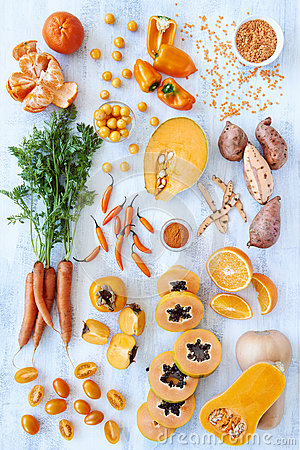 Free Orange Hue Toned Collection Fresh Produce Royalty Free Stock Photos - 58039058