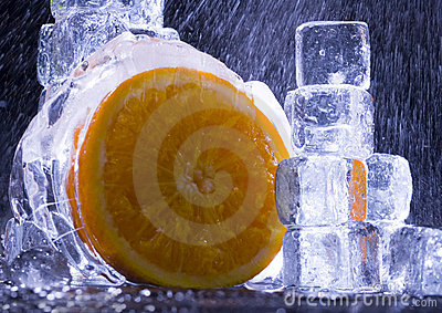 Orange with ice cubes