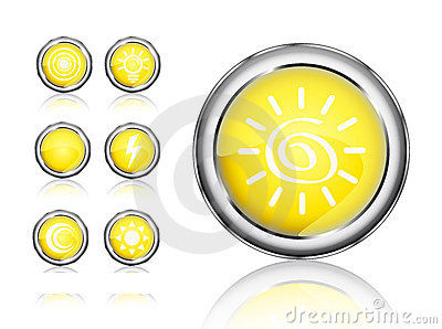 Orange icon set of sun and bulb icon