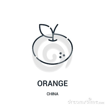 orange icon vector from china collection. Thin line orange outline icon vector illustration. Linear symbol for use on web and Vector Illustration