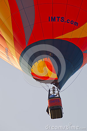 Orange IMTS Balloon in sky close up Editorial Stock Image