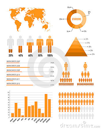 Orange infographic elements
