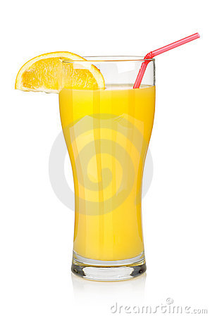 Orange juice in a big glass