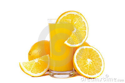 Orange juice and fresh oranges