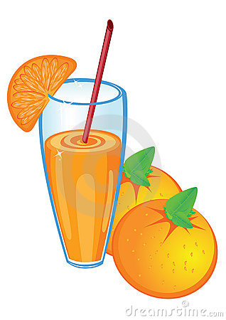 Orange juice and fruit, isolated