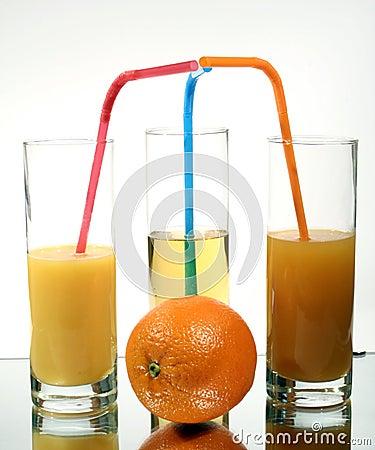 Orange juice into a glass