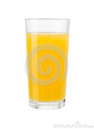 Orange juice in glass isolated with clipping path