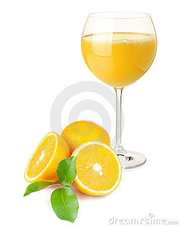 Orange juice and oranges