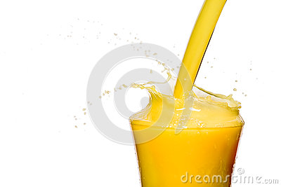 Orange juice is pouring on a white background