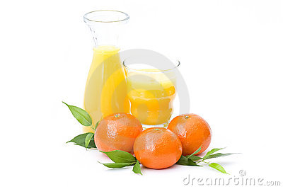 Orange juice and some fresh fruits