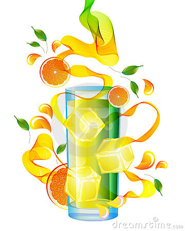 Orange juice with splash, abstract wave and leaves