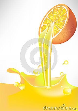 Orange juice splash pouring from fruit