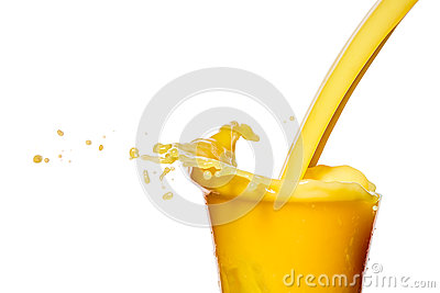 Orange juice splash on a white background
