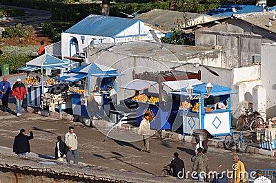 Orange juice vendors in Essaouria Editorial Image