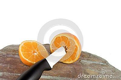 Orange and knife