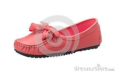Orange leather woman shoe