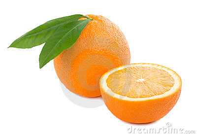 Orange with leaves full and a half