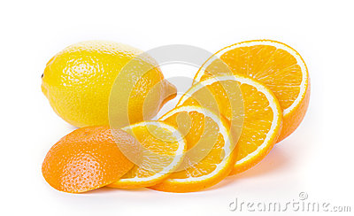 Orange and lemon fruit on white