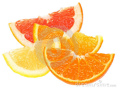 Orange, lemon, grapefruit and tangerine slices.