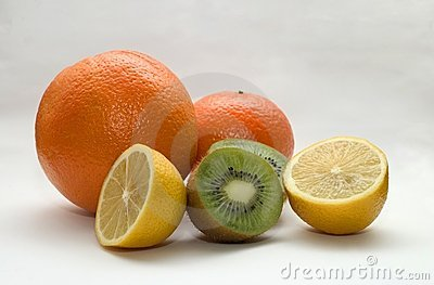 Orange, lemon, kiwi