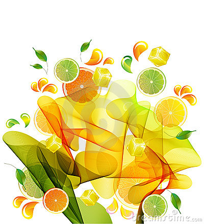 Orange, lemon and lime juice splash