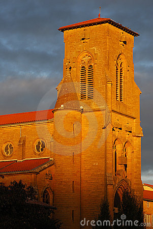 Orange light on steeple