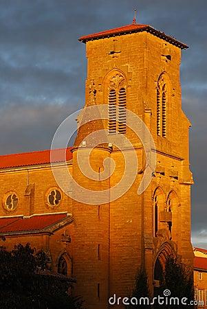 Orange light on steeple