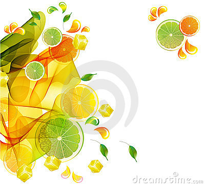 Orange and lime juice colorful splash