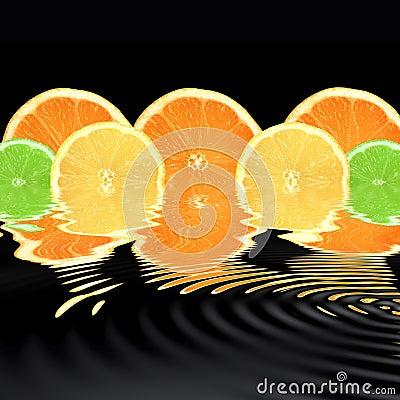 Orange, Lime and Lemon Abstract