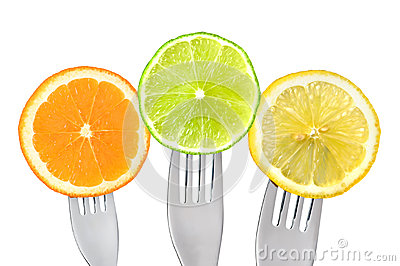 Orange lime and lemon slices isolated