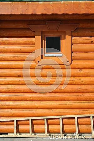Orange log wall