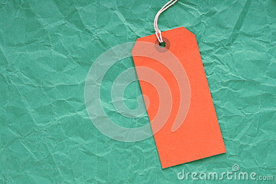 Orange Luggage Tag on Green