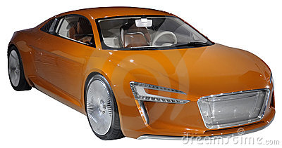 Orange luxury coupe isolated