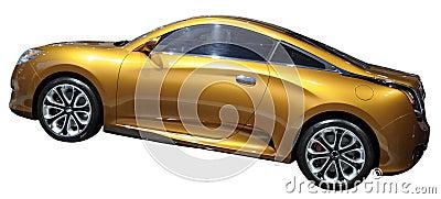 Orange luxury coupe isolated